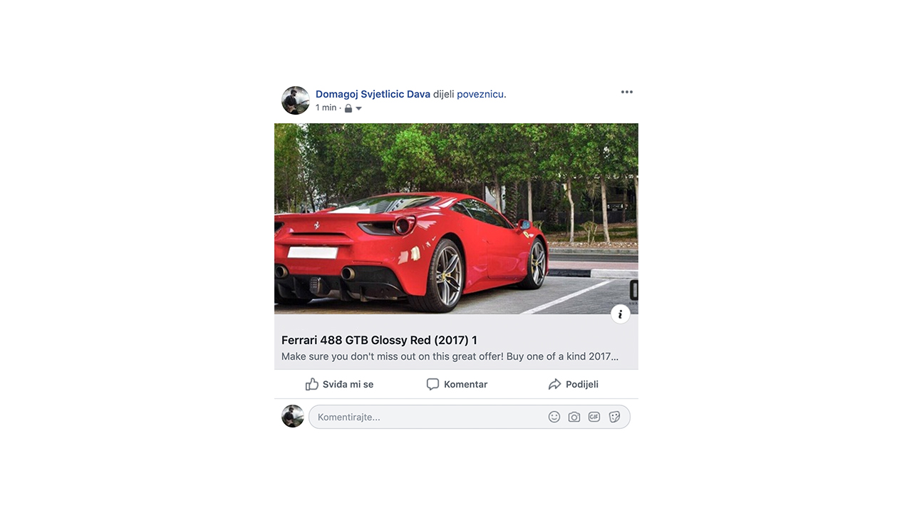 Example of a Facebook share post - Bornfight Nuxt.js Blog